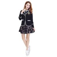 Wholesale School Sailor Outfits - Tailored Suit Japanese Korea School Girl Dress Outfit Short Sleeve Skirt Sailor Uniform Clubwear Cosplay Costume Fancy Dress Free DHL