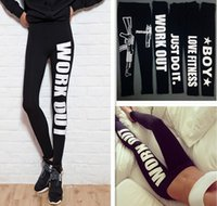 Wholesale Women Cotton Leggings Tight Black Ladies Work Out Gun Letter Print Slim Leggings Stretch Pants Waist Tights Gym Crop Letter Slogan Pants