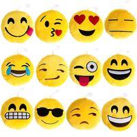 Wholesale 12 Styles cm Soft Emoji Smiley Emoticon Yellow Round Cushion Pillow Stuffed Plush Toy Doll Festival Present
