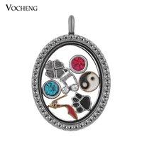 Cheap Oval Floating Glass Pendant 2 Colors Plating Memory Living Locket (VA-116) Vocheng Jewelry