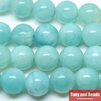 aqua beads wholesale - Natural Stone Aqua Amazonite Round Loose Beads cm Strand MM Pick Size For Jewelry Making No SAB16