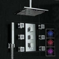 Wholesale And Retail LED Color Changing Ceiling Mounted Shower Faucet Set Thermostatic Ways Valve W Hand Shower