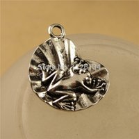 Wholesale New Frog Charms Tibetan Silver Charm Lotus Leaf Bracelet Accessories DIY Jewelry Suspension A3718