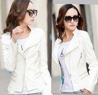 Precio de Leather jackets-collar del mandarín de moda para mujer chaquetas de 2015 mujeres de la chaqueta de cuero de cuero de la motocicleta ropa delgada de la prendas de vestir abrigos de cuero blanco