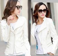 Wholesale Fashion mandarin collar womens jackets white leather clothing slim leather motorcycle leather jacket women outerwear coats