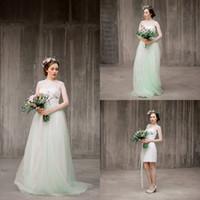 beach bolero - Three Piece Boho Wedding Dress with Detachable Bolero Mint Green Tulle Skirt Bridal Separates Lace Bohemian Wedding Dresses Summer