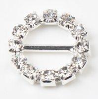 rhinestone buckles - Bar mm mm Round Crystal Clear Silver Plated Rhinestone Ribbon Buckle Chair Slider Wedding Supplies