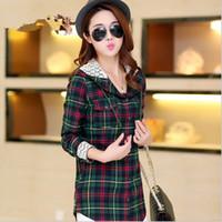 adorn m - New Women s Plaid Coat Lace Adorn Autumn Long Sleeve Shirt Hooded Thin Jacket Coat Outerwear