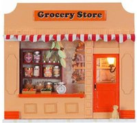 Wholesale 80pc DIY wooden mini shop With light Cake Food of Love european miniature store with english instruction