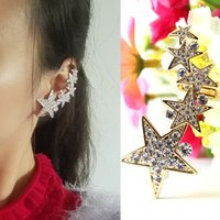 clip on earrings - Earrings Fashion Jewelry Christmas Gift New Arrival Real Gold Plated Crystal Stars Ear cuff Clip On Earrings For Women