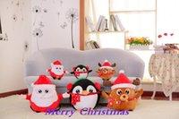 bear figurines - 100X Santa Claus dolls Plush toy David s deer toy figurine penguin Pillow Christmas birthday gift
