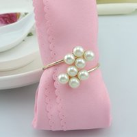 Wholesale 2015 Pearls METAL Napkin Rings Hotel Wedding Supplies Table Decoration Accessories