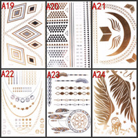 Wholesale Temporary Tatto Sticker For Women Men Peace Infinity Symbol Bird Feather Metallic Tattos Stickers Body Art Mix