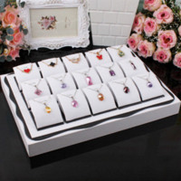 Wholesale White color wood Pendants box Jewelry Necklace Display Show Case Organizer Tray Box Display stands jewelry box