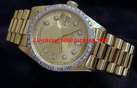 achat en gros de or lunette sertie de diamants-Top qualité Luxe 8k Day or jaune Date de président Dial Diamond Montre Montres Bezel 18038 Montre Automatique Hommes Hommes