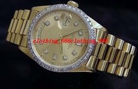 Wholesale Top quality Luxury k Yellow Gold Day Date President Diamond Dial Bezel Watch Automatic Mens Men s Watch Watches