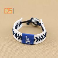 Wholesale Professional baseball league leather bracelet porcelain bead rope braid bracelets baseball game wristband balls sport bangle outdoor accs