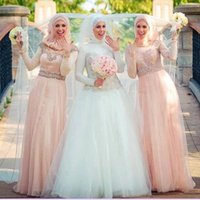 Cheap Blush Pink Bridesmaid Dresses Rhinestones Formal Dresses For Muslim Wedding Jewel Neckline Long Sleeve Custom Made Tulle With Hijabi Veil