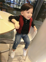 Wholesale Spring and Autumn Children s vest hooded sweater vest Baby boys and Girls Gray knitted waistcoat