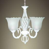 antique candelabra lamp - Luxury Wrought Iron Chandelier E14 LED Light White Candelabra Vintage Antique Glass Vernge Pendant Lamp