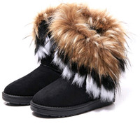ankle hair - Hot sale colors Fashion Rabbit hair and Fox Fur In tube Color matching warm snow winter boots for women boots