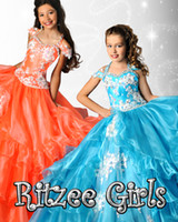 Wholesale Ritzee Girls Ball Gown Little Girls Pageant Dresses Halter Appliques Beads Kids Party Gowns Long Corset Children Princess Dress