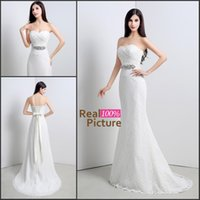Wholesale New Lace Sweetheart Wedding Dresses Real Image Ceystal Sash Sheath Beach Graden Bridal Party Gowns In Stock Cheap SQ
