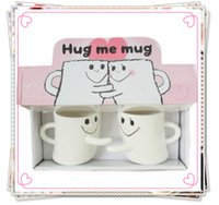 white ceramic mug - 1505 Creative ceramic mug expressions hug right cup couple cups mug of coffee lover mugs hug mug white color