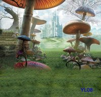 Wholesale Thin Vinyl Photography Backdrop Mushroom and Castle Pattern Photo Studio Background High Quality Backdrops For Sale x7ft YL08
