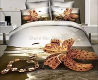 beach quilt fabric - brown necklace beach tulip flower print D bedding cotton fabric full queen size quilt duvet covers sheets set girls home decor