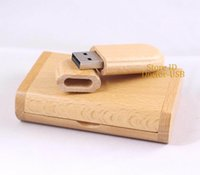 Wholesale Curved Round Edge Beech Wood Case Wooden USB Drive GB G Memory Flash Pendrives Sticks