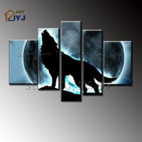 Wholesale 5pcs High Quality Wolf Anmial Canvas Oil Painting Handmade Modern Abstract Wall Art Painting Home Decoration Gift TH040