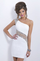 Wholesale Hot Party Dresses For Woman Sequined Beaded One Shoulder Party Gowns Sheer Back Short Mini White Prom Dresses