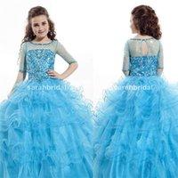 baby blue dresses for juniors - 2015 Rachel Allan Girl s Beauty Flower Pageant Dresses For Baby Kids Juniors Custom Made Half Long Sleeves Sky Blue Rhinestone Ball Gowns