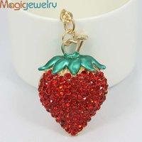 Cheap Novelty Fashion Rhinestone Alloy Pendant Strawberry Key chains Keyring holder Trinket Gift Souvenir for Women Girls Jewelry