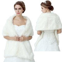 Wholesale New White Faux Fur Cape Winter Shrug Stole Wrap Wedding Bridal Bridesmaid Wrap Shawl Bolero Jacket Coat Bridal Accessory Cheap