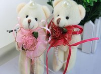 beaded teddy bear - 12cm Beige Teddy Bear With Lace Pink Red Dress Stuffed Plush Toys Flower Bouquet Material Soft Mini Beaded Women Girls Kids Doll