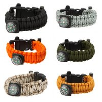 buckles - Outdoor Camping Paracord Parachute Cord Emergency Kit Survival Bracelet Rope with Whistle Buckle Compass Flint Fire Starter H14738