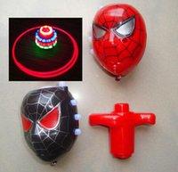 Wholesale Spider Man Spinning Top Flash Gyro Music LED Gyro GIFT