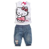 apparel for kids baby - 2014 Baby Girls Clothing Set for Summer Hello Kitty frozen KT with Cute Cartoon Cat Pattern Kids Cotton Apparel Suit