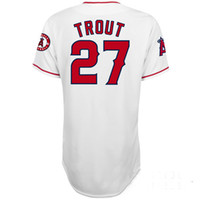 team wear - Cheap Baseball Jerseys Los Angeles Angels Mike Trout White Home Team Jersey Authentic Baseball Cool base Wear Jerseys