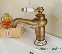 antique porcelain basin - Tap with cold and hot water European leading full copper blue and white porcelain station gilt antique color basin faucet
