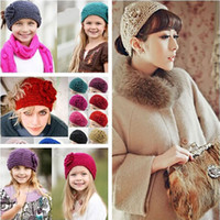 Wholesale 24 Colors Korean Women Camellia flowers Crochet Headbands European Style Ladies Fashion Warmer Knitted Hair band Girls Vintage Hair Jewelry