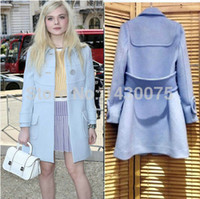 Wholesale New Winter Coat Women European Fashion Wool Coat Good Quality Women s Light Blue Woollen Long Coat Plus Size Overcoat F100