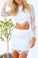 Wholesale 2014 Hot Sale Womens Long Sleeve Club Lace Dresses Ladies Two Piece Set Party Dress Vestido De Renda New Fashion