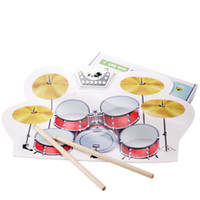 Wholesale USB MIDI Drum Kit PC Desktop Roll up Electronic Drum Pad Portable with Drumsticks I198
