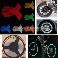 Wholesale 16 Strips Wheel Sticker Reflective Rim Stripe Tape Bike Motorcycle Car inch