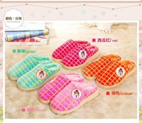 Wholesale carton slipper Ultra thick crust Plush Squares Wearable Warm Cotton Slippers colors warming catton slipper