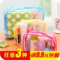 bamboo cosmetic packaging - Thick transparent PVC waterproof wash bag travel cosmetic pouch multifunction portable bathroom admission package