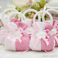 baby gift basket supplies - Wedding Favor Candy Hand Basket Bags Gift Brocade Liene Flower For Wedding Favours Table Decoration Supplies Baby Full Moon Candy Bags Gift